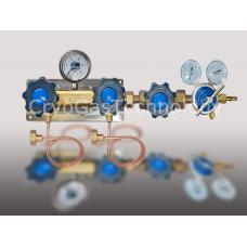 Рампа разрядная для 2-х баллонов с манометром, регулятором и запорным клапаном