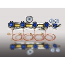 Рампа разрядная для 4-х баллонов с манометром и регулятором