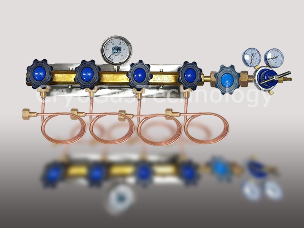 Рампа разрядная для 4-х баллонов с манометром, регулятором и запорным клапаном
