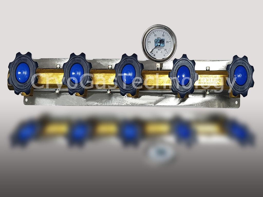 Рампа разрядная для 5-ти баллонов с манометром