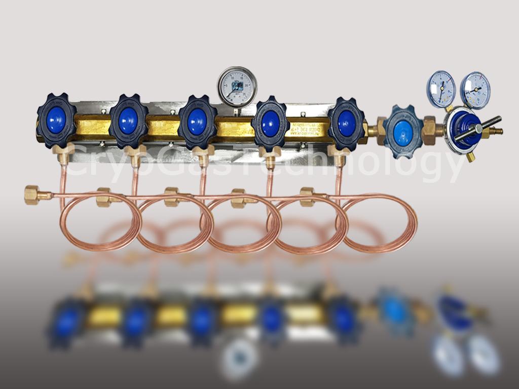 Рампа разрядная для 5-ти баллонов с манометром, регулятором и запорным клапаном